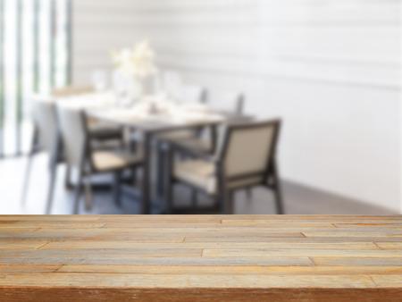 Prázdný dřevěný stůl a jídelní stoly místnost pozadí, zobrazení výrobku