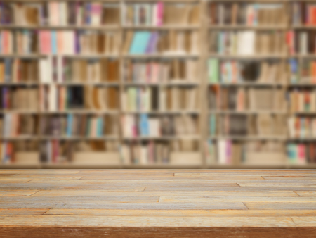 Empty wooden table and modern library background, product display Stockfoto