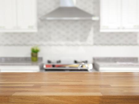 contadores: Mesa de madera vac�a y el fondo de la cocina borrosa, exhibici�n del producto