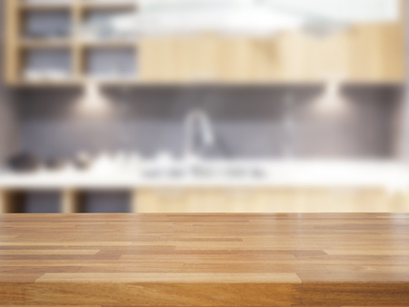 Empty wooden table and blurred kitchen background, product display