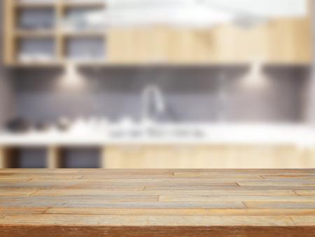 Leere Holztisch und verschwommenes Küche Hintergrund Produkt anzeigen Standard-Bild - 40383792