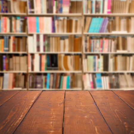 Empty wooden table and modern library background, product display Stock Photo