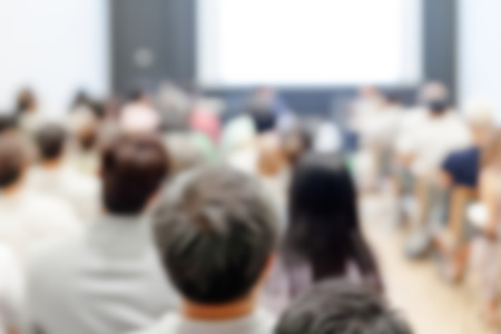 lecturer: Blurred background of Business conference and presentation. audience at the conference room Stock Photo