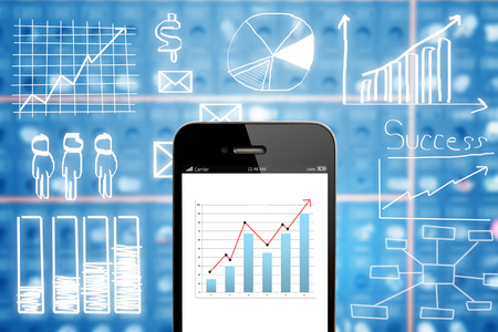 mobile business: Business chart on smart phone   with drawing business plan concept,mobile strategy, business finance concept. Stock Photo