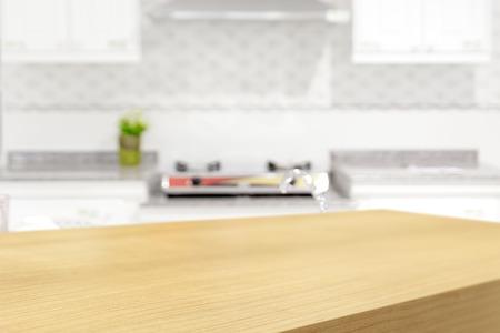 madera r�stica: Mesa de madera vac�a y el fondo de la cocina borrosa, exhibici�n del producto