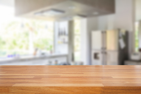empty surface: Empty wooden table and blurred kitchen background, product  montage display