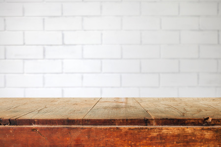 brick: Empty table and white brick wall background,  product display montage