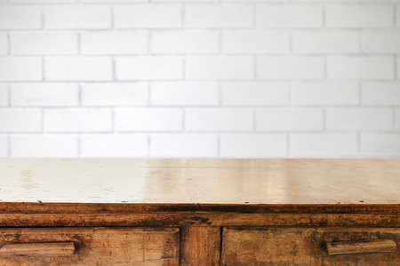 vintage kitchen: Empty table and white brick wall background,  product display montage
