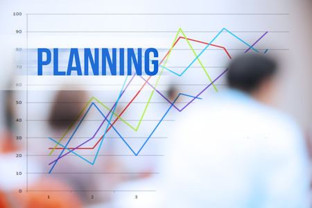 planing: blurred business people background,business plan concept,mobile strategy,planing word Stock Photo