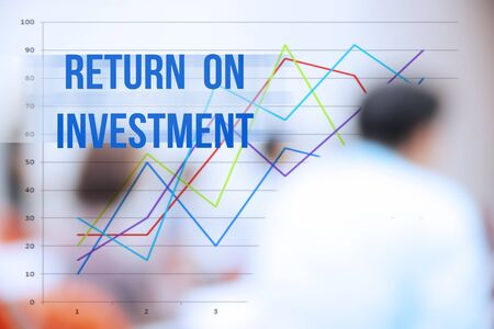 investmen: blurred business people background,business plan concept,mobile strategy,return on investment word