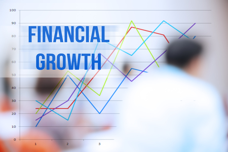 financial growth: blurred business people background,business plan concept,mobile strategy,financial growth word