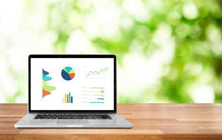 Moderner Computer mit Tastatur und Maus auf Tabelle, die Diagramme und Grafik gegen Büro mit Unschärfeparkgrün-Naturhintergrund-Bokeh-Licht, Analysegeschäft, Statistikkonzept zeigt.