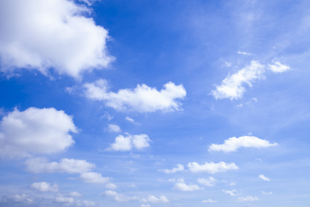 Blue sky background with clouds, Clearing day and Good weather in the morning, Background Template With Some Space Standard-Bild - 111989990