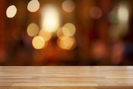 Empty wooden table and abstract bokeh blurred color light background, product display ,Ready for product montage, Christmas holiday Standard-Bild - 126589902