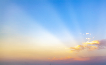 beautiful blue sunset sky with white clouds background, Nature background, yellow and orange tone Standard-Bild - 126590001