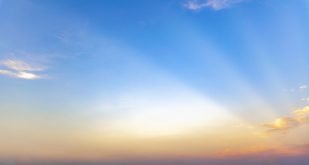 beautiful blue sunset sky with white clouds background, Nature background, yellow and orange tone Standard-Bild - 126590005