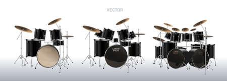 Realistic drum kit. Set of Drums. Vector. Illustration