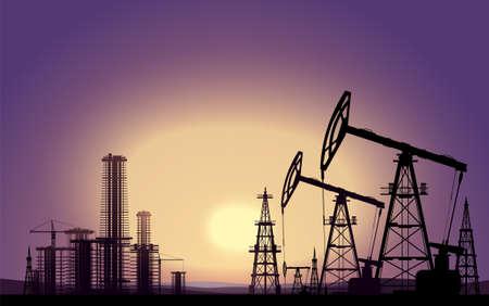 Oil rigs. Oil production. Vector Vektorgrafik
