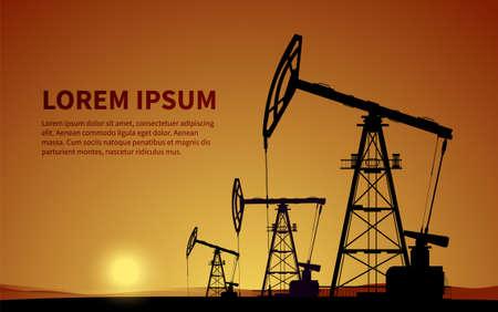 Oil rigs. Oil production. Vector Ilustración de vector