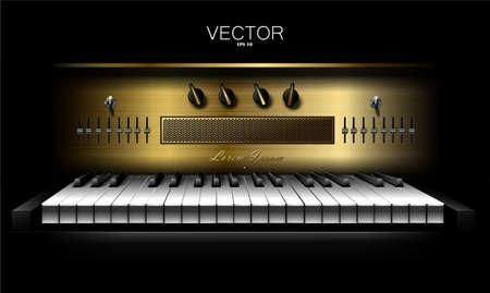 Realistic virtual synthesizer for recording studios. Piano. Vector Vettoriali