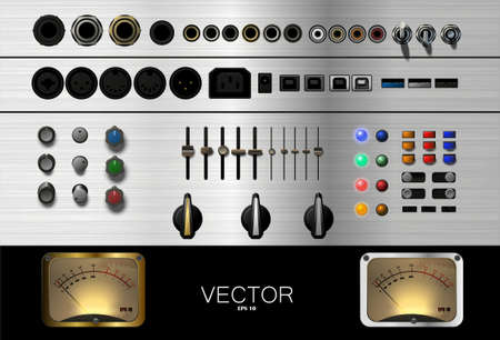 A set of buttons, connectors, and other accessories for music. Vector