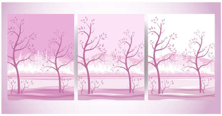 Big city on a background of beautiful trees in delicate shades. Three options for greeting cards, gifts. Illusztráció