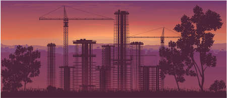 City construction, high-rise buildings.