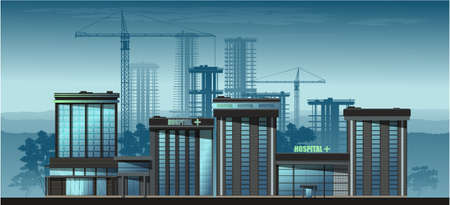 City in the afternoon. High-rise residential buildings, cafe and hospital.