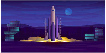 rocket take-off from spaceport to space, vector flat graphic