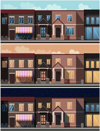 Street at different times of the day. Houses, cafes. Illusztráció