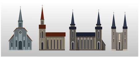Four types of catholic church. vector. Illusztráció