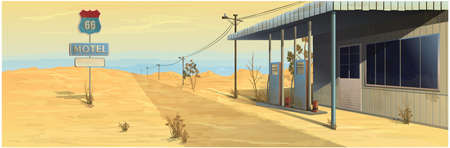 Motel near the road with a gas station on a desert background. Vector graphics
