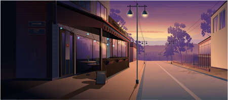 Landscape at sunset. Cafe on the street, at home, road. Vector graphics Illusztráció