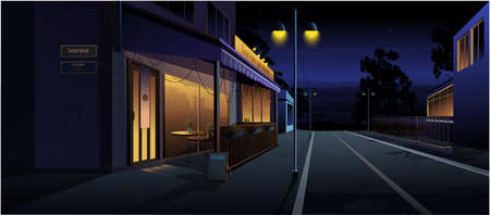 Night landscape. Cafe on the street, at home, road. Vector graphics
