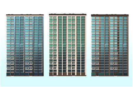 The architecture of the buildings. Office, home, shopping center. Vector graphics