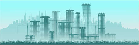 City construction, high-rise buildings. Vector graphics