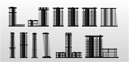 Twelve high-rise buildings under construction. Vector graphics