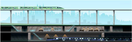 Underground metro on the background of the city. High-rise glass houses, residential buildings, cafes, school. Vector
