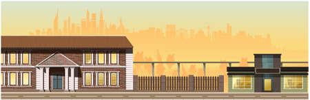 Evening city. high-rise glass houses, residential buildings, cafes, lanterns. Vector Illusztráció