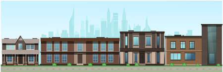 City in the afternoon. Residential buildings, cafes, school. Vector Vettoriali