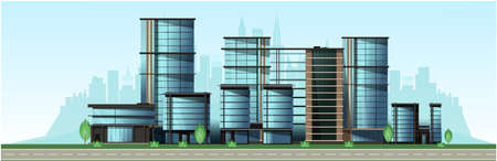 City in the afternoon. High-rise glass houses, residential buildings, cafes, school. Vector Vettoriali