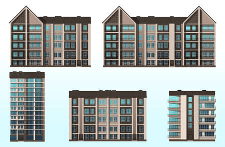 Urban construction, high-rise buildings. Vector graphics Vettoriali