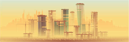 Urban construction, high-rise buildings. Vector graphics Иллюстрация