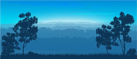 Nature background. Trees are hills. Vector graphics 일러스트