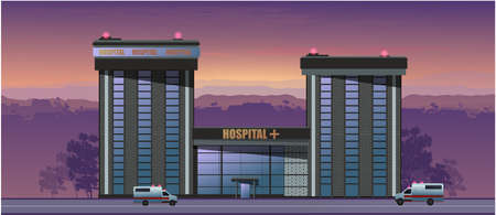 Hospital at sunset. Ambulance. Vector graphics