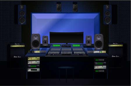 Realistic recording studio. Vector graphics.