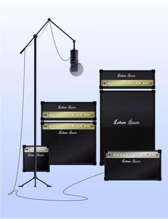 Realistic equipment for a recording studio. Vector. Illusztráció