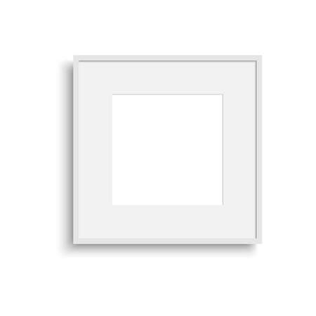 Realistic thin photo frame with soft shadow. Vector.