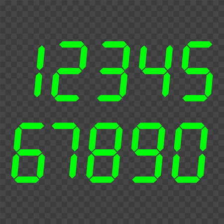 Digital clock number set. Electronic numbers. Vector.