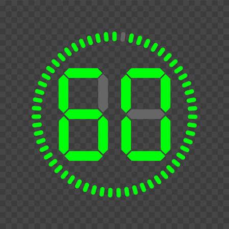 Stopwatch digital timer. Vector sign
